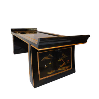 High Gloss Lacquer Oriental Coffee Table With Gold Landscape