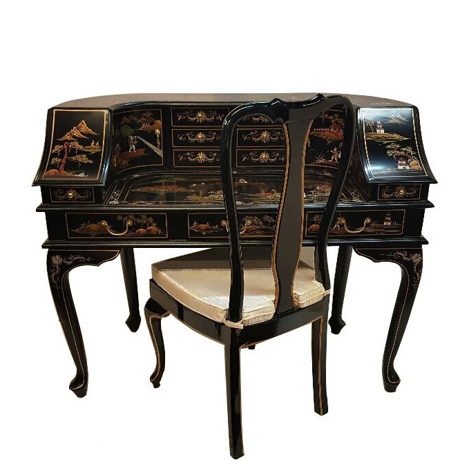 Remarkable Black Lacquer Oriental Desk With Hand Painted Chinoiserie Landscape Download Free Architecture Designs Rallybritishbridgeorg