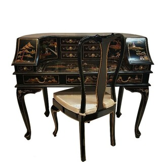 48  inch wide  Oriental desk with 11 drawers and 2 doors, glass top, hand painted