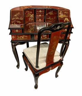 Red Lacquer Oriental Desk with Hand Painted Chinoiserie Landscape