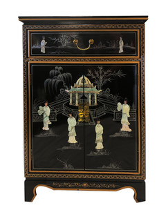 Pagoda Oriental Cabinet Inlaid With Mother Of Pearl