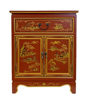 "30""H. Asian Shoe Cabinet Hand Painted Landscape on Antique Red."