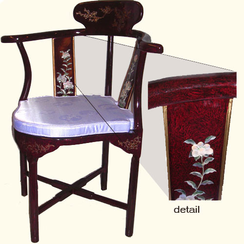 Oriental corner chair hand inlaid mother of pearl with removable silk cushion at import direct prici