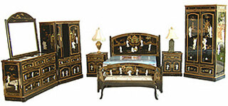 8 Pc. Oriental Bedroom set in shiny black and pearl inlays at import direct pricing.