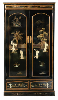 Oriental Armoire Black Lacquer With Mother of Pearl Inlays