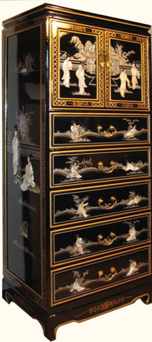 Oriental Lingerie Chest In Black Lacquer With Hand Painted