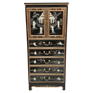 "52""H Black Lacquer Oriental Lingerie Cabinet Hand Painted and Carved Mother of Pearl"