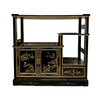 Oriental Bookcase Hand Painted Front And Back, Glass top, Brass Hardware