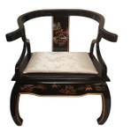Shiny Black Chinese Ox Horn Back Arm Chair