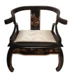 Arm Chair with Buddha legs and silk cushion Oriental Arm Chair Buddha legs and Ox horn back with removable silk cushion hand painted landscape.