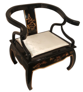 Shiny Black Arm Chair With Hand Painted Gold Landscape