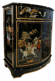 32 high.Oriental Cabinet with Round Front Hand Painted Black Lacquer