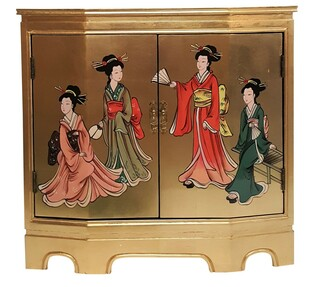 Gold Leaf Slant Front Cabinet with Geishas
