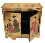 Hand-painted Gold Leaf Slant-front Cabinet