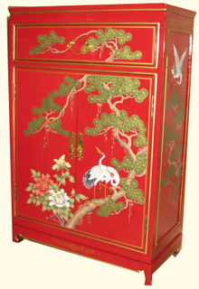 36  inches  high Oriental cabinet hand painted Cranes on red lacquer with drawer,shelf and more. Import direct p