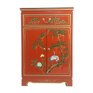 "36"" Oriental Shoe Cabinet Hand Painted Red Lacquer"