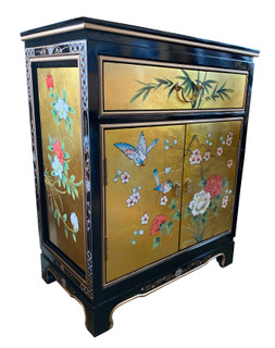 Oriental Shoe Cabinet Hand Painted Bird and Floral