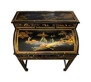 """37""""  Wide Shiny Black Oriental Lacquerware Roll Top Desk"""