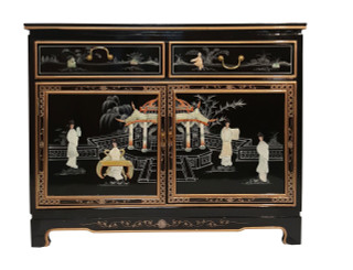 40  inch Oriental cabinet, inlaid pearl with glass top, felt lined drawers, shelf at import direct pricing