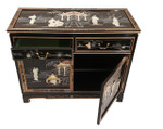 Black Lacquer cabinet with mother of pearl 2 door, 2 drawers