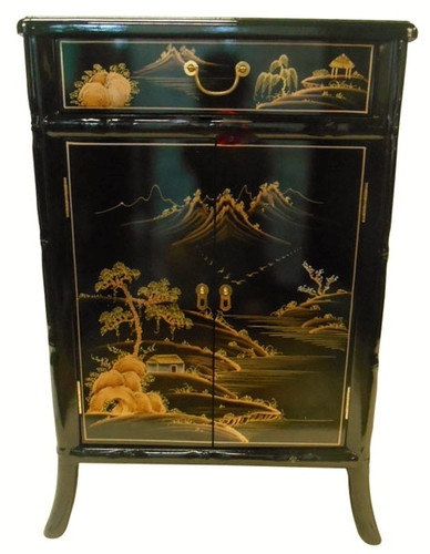 Bamboo Carved Cabinet Oriental Black and Gold Hand Painted Lacquer ...