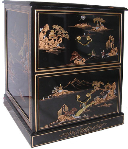 File Cabinet With Oriental Hand Painted Gold Japanese Landscape, Two Large  Felt Lined Drawers With Glass Top.   Oriental Furnishings: Furniture U0026 Decor