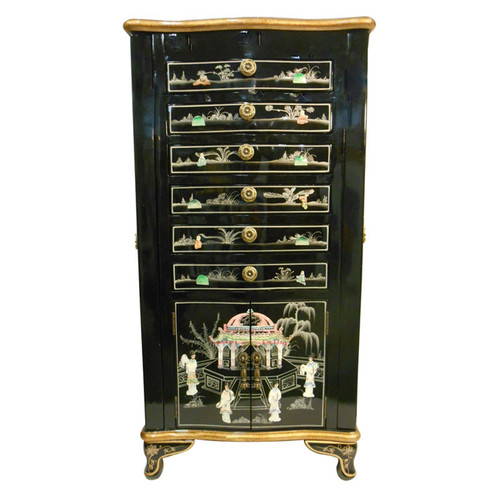 Oriental Jewelry Armoire Black Lacquer with Mother of Pearl Inlaid