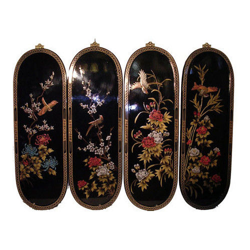 Chinese Wall Plaques In Floral Black Lacquer Set Of Four