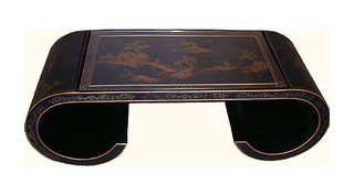 36  inch  wide  Oriental Coffee Table, Antique Black with scroll legs & glass top at import direct pricing.