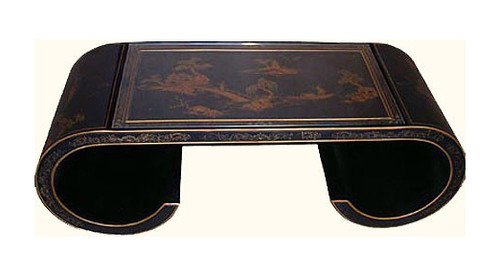 Chinese Coffee Table In Black Lacquer With Carved Scroll