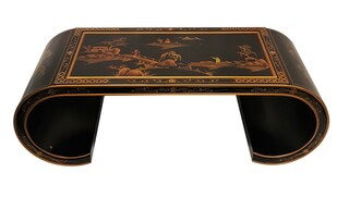 "48"" Oriental Coffee Table, Antique Black With Scroll Legs"