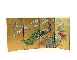 Hand Painted Oriental Screen with Gold Leaf