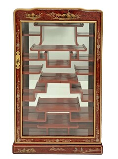Oriental Wall Curio For Miniatures French Red Lacquer