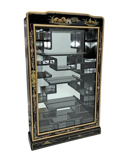 "33"".h Shiny Black Lacquer Hand Painted Landscape Oriental Wall Curio for Nesuki"