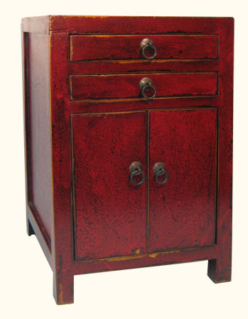 Oriental Antique Cabinet In Red Lacquerd Elmwood 24 H