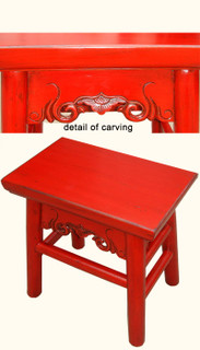 Chinese stool in lipstick red lacquer with hand carving made of solid reclaimed lumber.