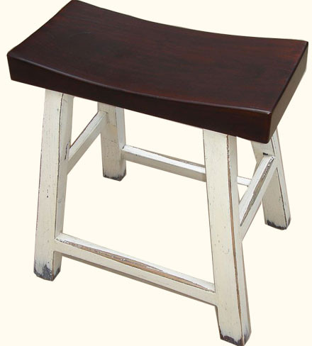 Oriental Wooden Stools With Curved Seat And White Lacquer