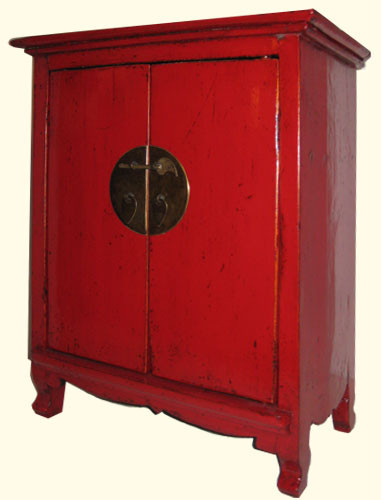 Red Shanxi Elmwood 19 Inch H. Oriental Cabinet Carved Apron, Brass Hardware  With Shelf