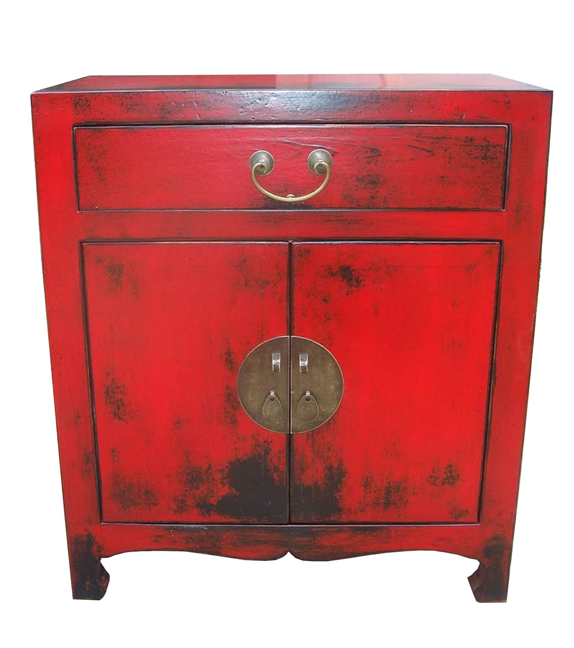 Elmwood Oriental Cabinet In Red Lacquer With 2 Doors And