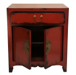 Handmade Oriental Red Lacquer End-table with Shelf