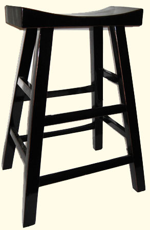 Chinese Bar Stool In Black Lacquer With Curved Seat And