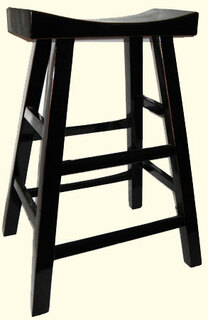 Solid Elmwood Tamu black lacquer bar stool with elegant Moon shape seat at import direct pricing.
