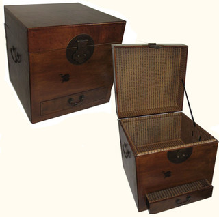 18  inches  high square Oriental Trunk with big brass, faux leather wrapped