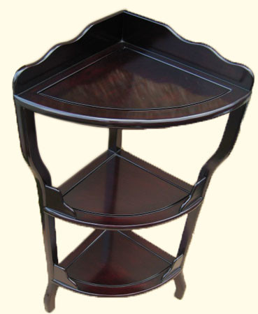 Oriental corner shelf is made of mahogany in deep rich red stain. Import direct pricing.