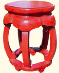 19 inch high red stool  made from distressed recycled lumber
