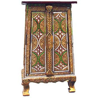 14 by 13 by 5  inches tall gaily colored  Thai lacquerware cabinet