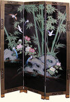3 Panel 72   inches  high Shiny Black Lacquer & hand Painted bamboo oriental floor screen and room divider