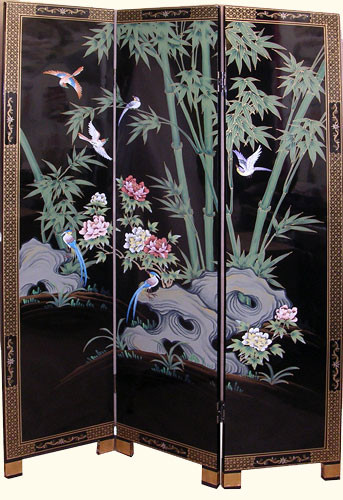 Wonderful 3 Panel 72 Inches High Shiny Black Lacquer U0026 Hand Painted Bamboo Oriental Floor  Screen And