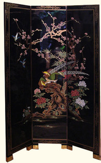 3 Panel 72 Inches High Black With Red Tail Bird Hand Painted Oriental Floor  Screen At