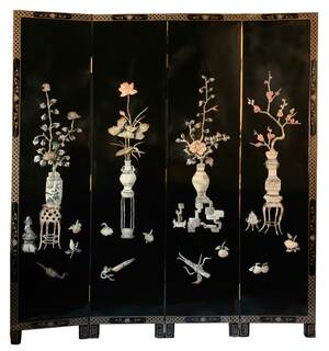 Oriental Floor Screen Inlaid Mother Of Pearl Vase Design